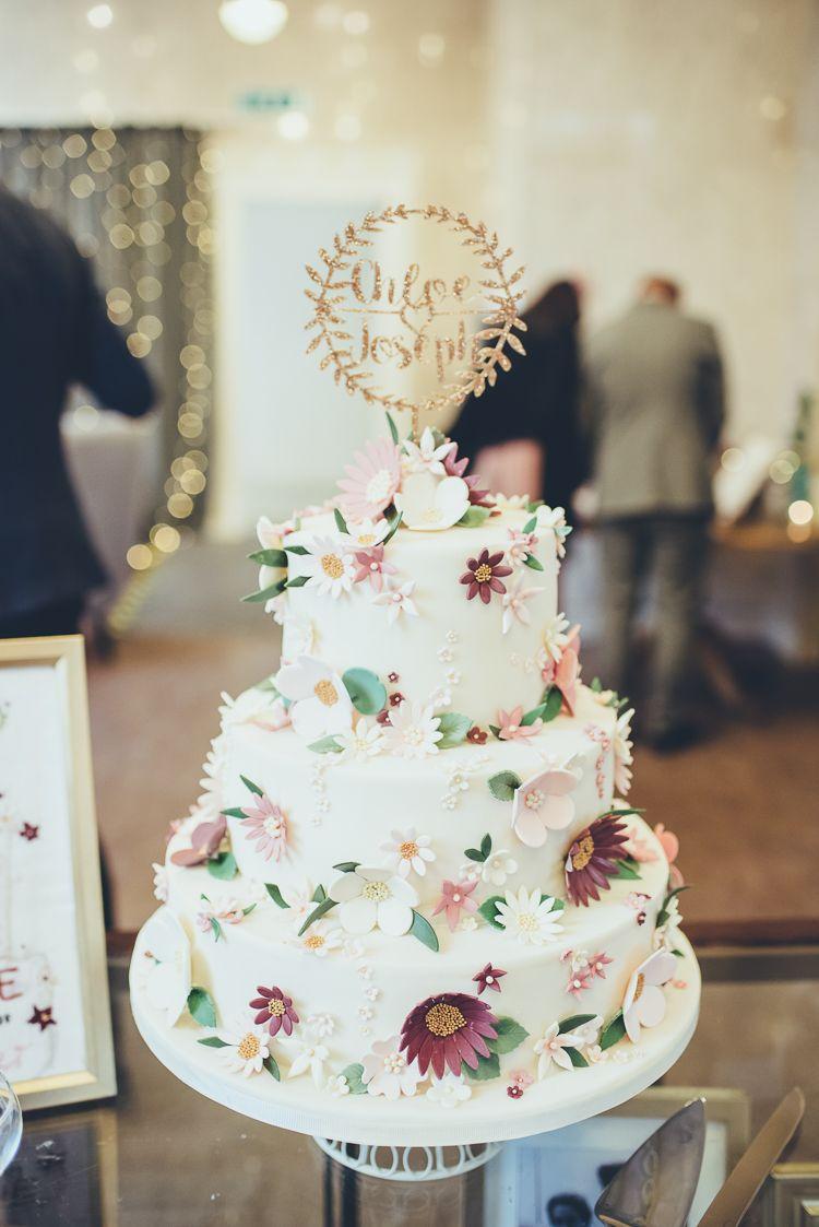 Greenery Burgundy City Autumn Wedding | Sugar flowers, Greenery and ...