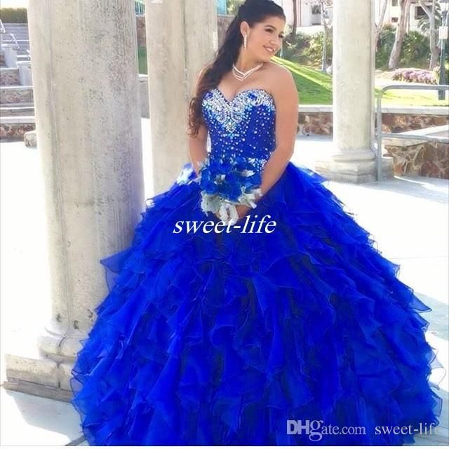 Royal Blue 2016 Quinceanera Dresses Cascading Ruffles Ball Gown ...