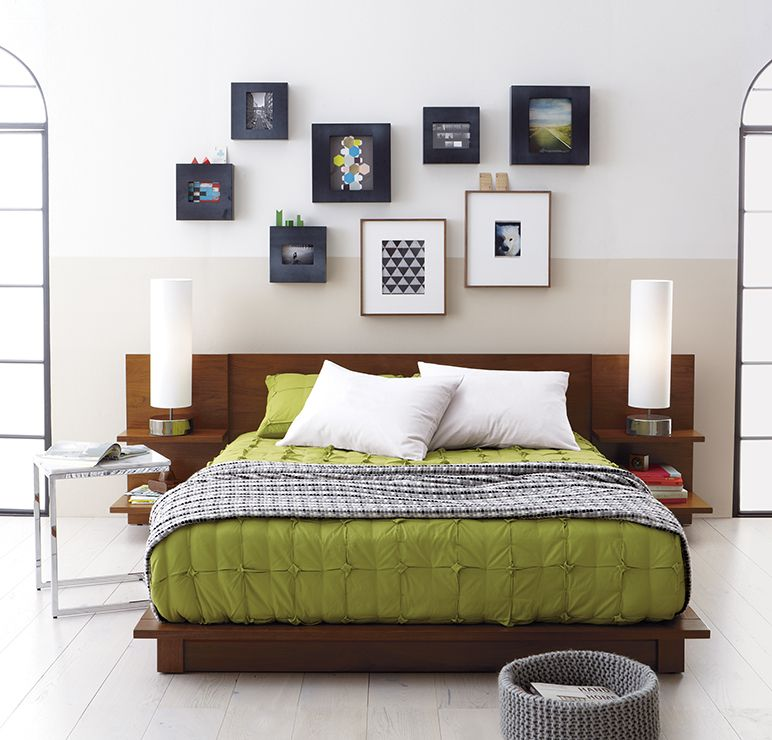Andes Walnut Bed In Bedroom Furniture, 850 (includes The Headboard With  Shelves)