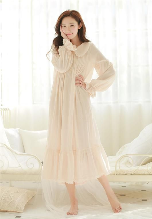 Vintage Royal Style Puff Sleeve 100% Cotton Night Gown Spring in ... 7bb6f809f
