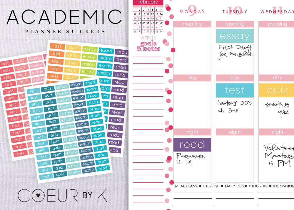 Student Planner Academic Stickers Diy Printable Pdf  Perfect For