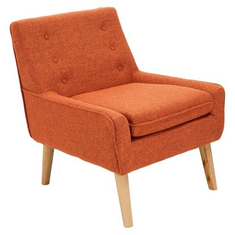Reese Tufted Fabric Retro Chair Orange   Christopher Knight Home