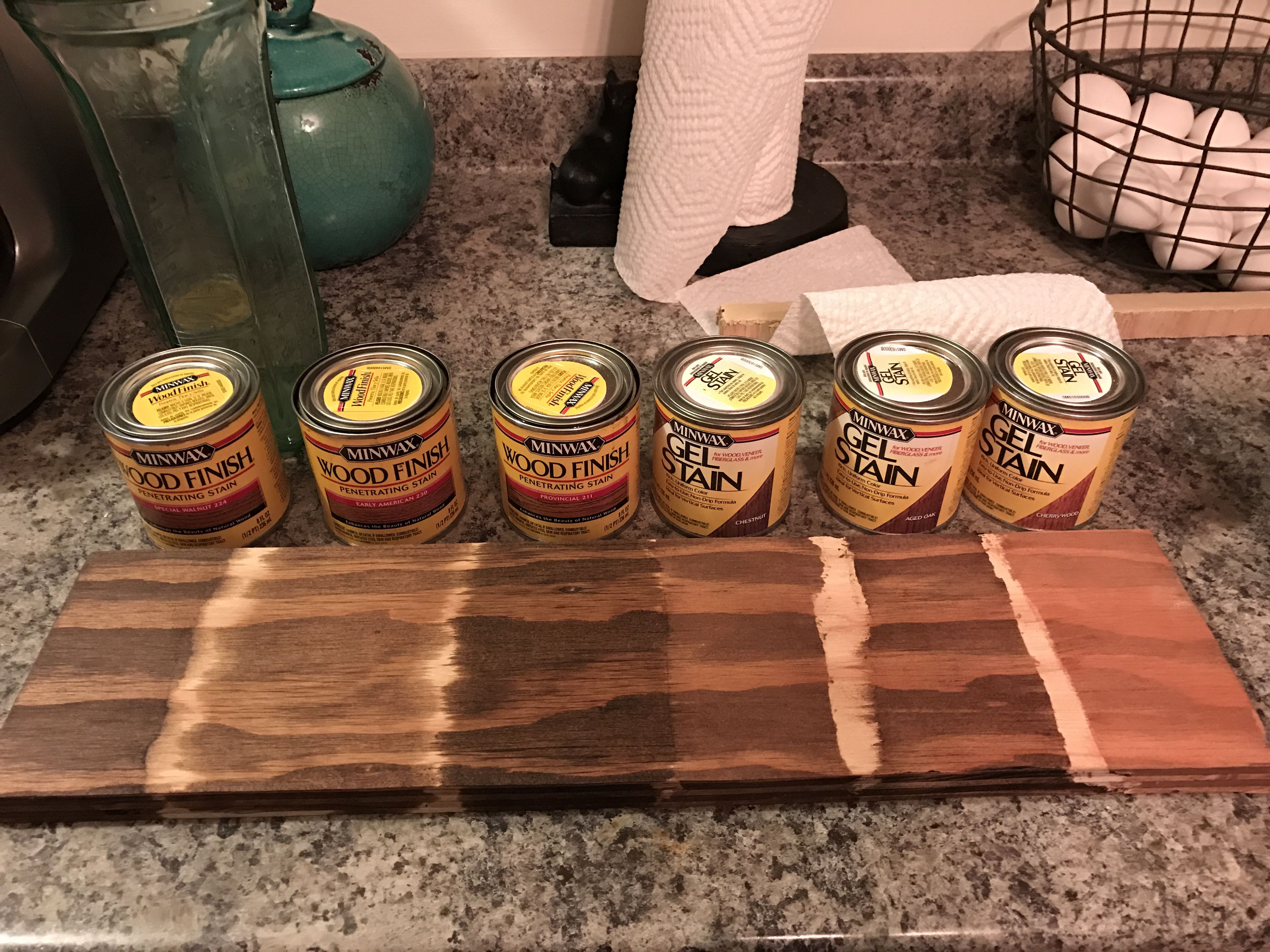 Minwax Stains One Coat On Pine Plywood From Left To Right Special Walnut Early American Provincial Che Staining Wood Minwax Stain Colors Wood Stain Colors