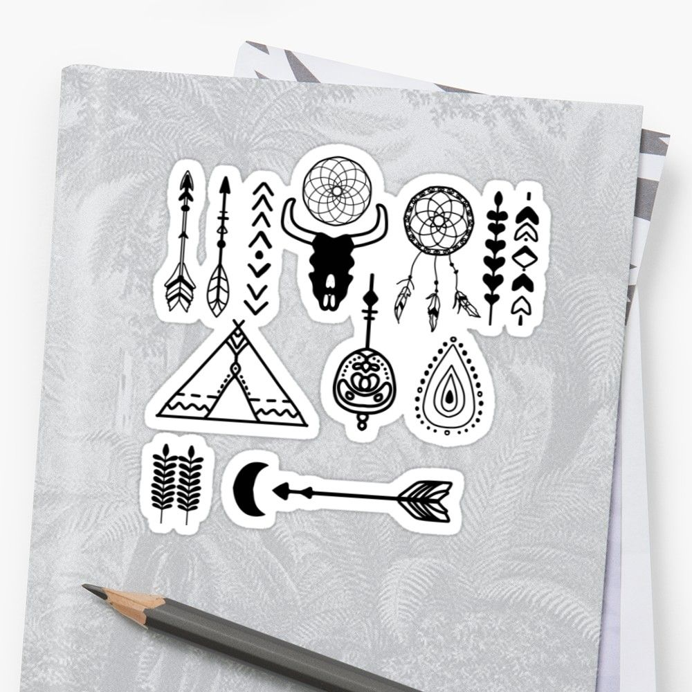 'Boho native american vector set stickers' Sticker by