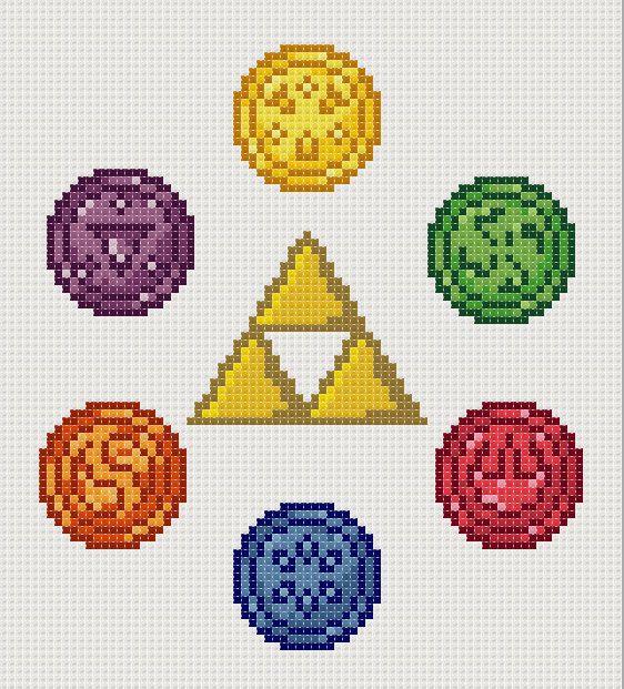 Legend Of Zelda Ocarina Of Time Cross Stitch Six Medallions