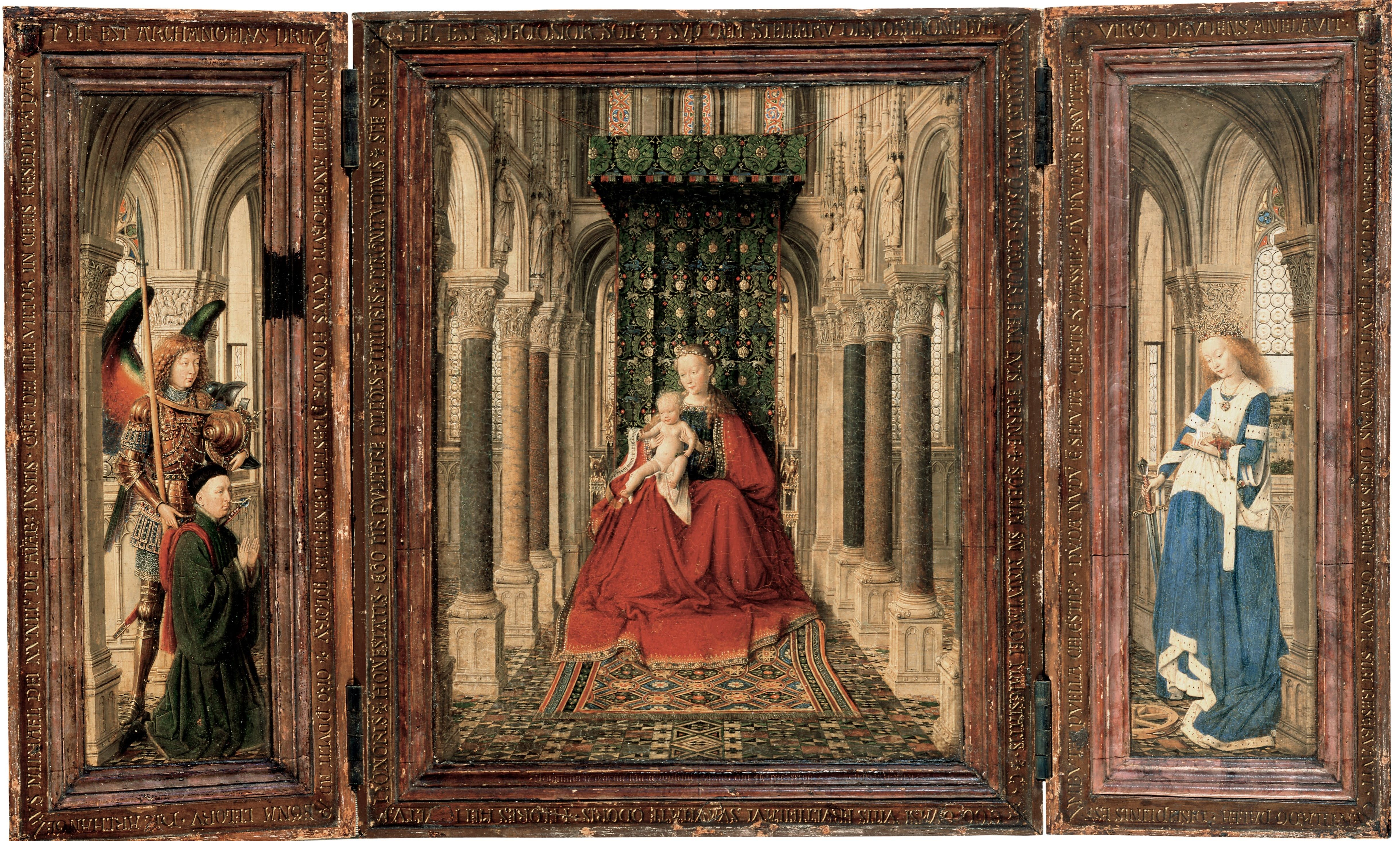 Jan Van Eyck The Dresden Triptych 1437 Gemaldegalerie Alte Meister Dresden Signed And Dated Iohannis De Eyck Jan Van Eyck Paintings Jan Van Eyck Triptych