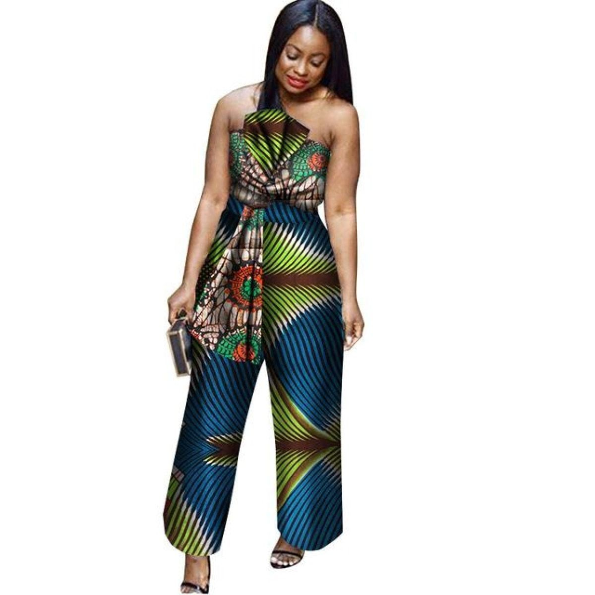 737d98a8b64 African Cotton Wax Print Romper Sexy Jumpsuit For Women Dashiki Batik
