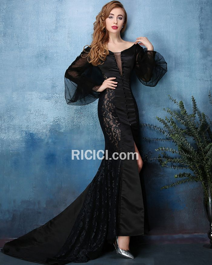 Club Prom Dress For Occasions Sexy Low Cut Lace Tulle Black Mermaid ...
