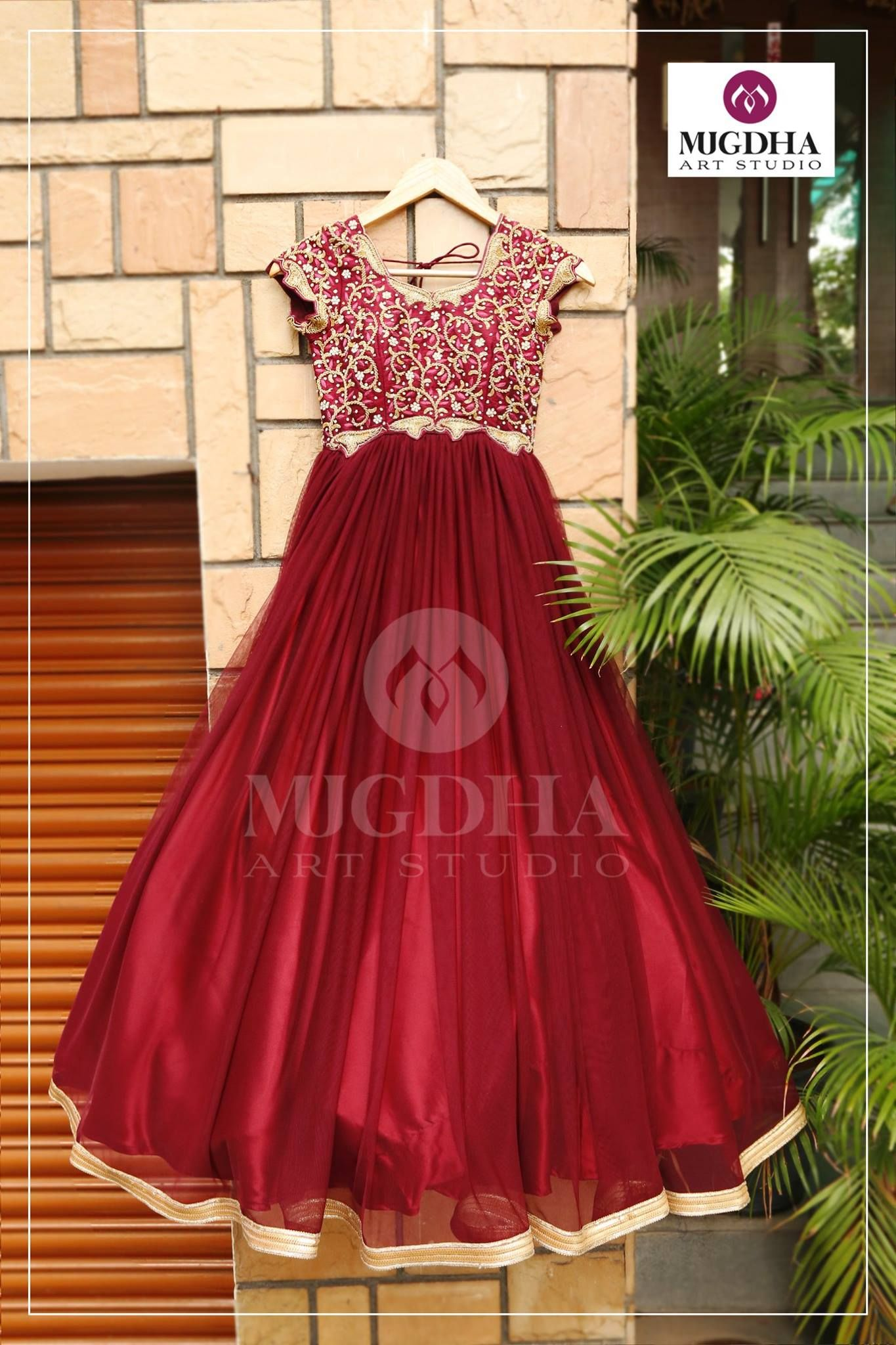 Beautiful Long Gown in Gorgeous Color combination from Mugdha Art Studio.