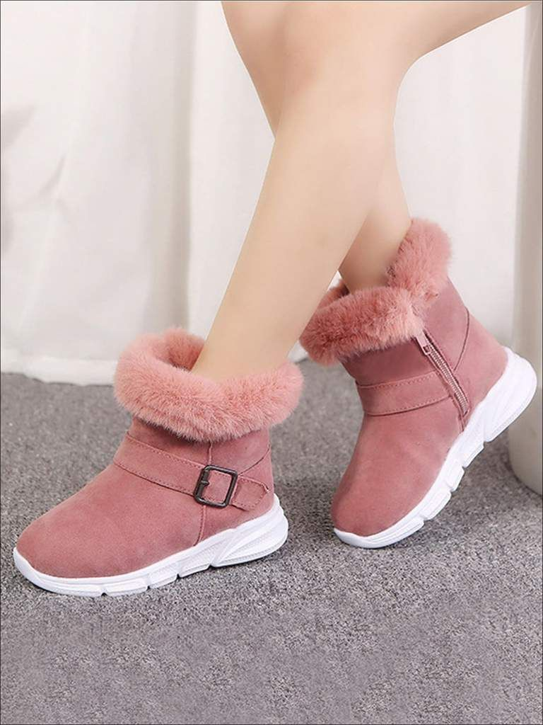 Kids Snow Boots Boys Girls Winter Warm Faux Furt Trainers Lace Up Shoes New
