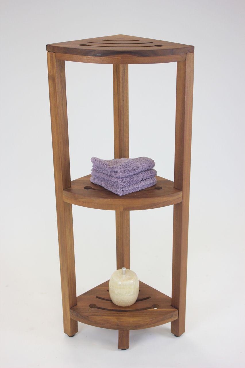 Patented Kai Corner Teak Bath Shelf With Square Legs Wooden Corner Shelf Corner Shelves Teak Shower Shelf