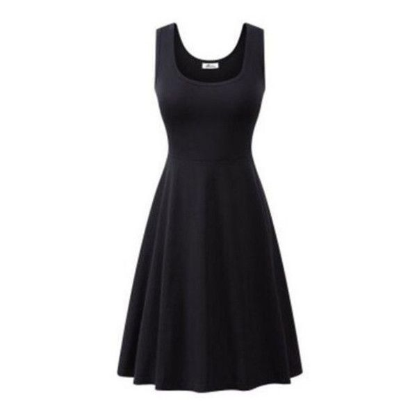4213c5bac6 Women's Women Summer Beach Casual Flared Tank Dress ($9.99) ❤ liked on Polyvore  featuring dresses, black, beach dresses, tank dresses, flared dresses, ...