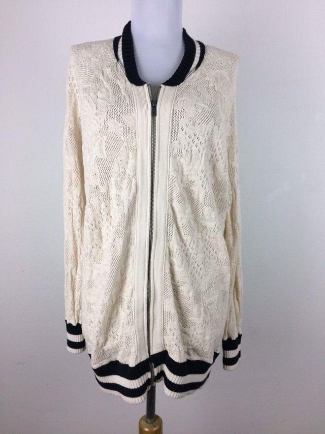 Free People Womens Jacket Size Medium Cream Black Lace Bomber Floral Striped  #FreePeople #Jacket
