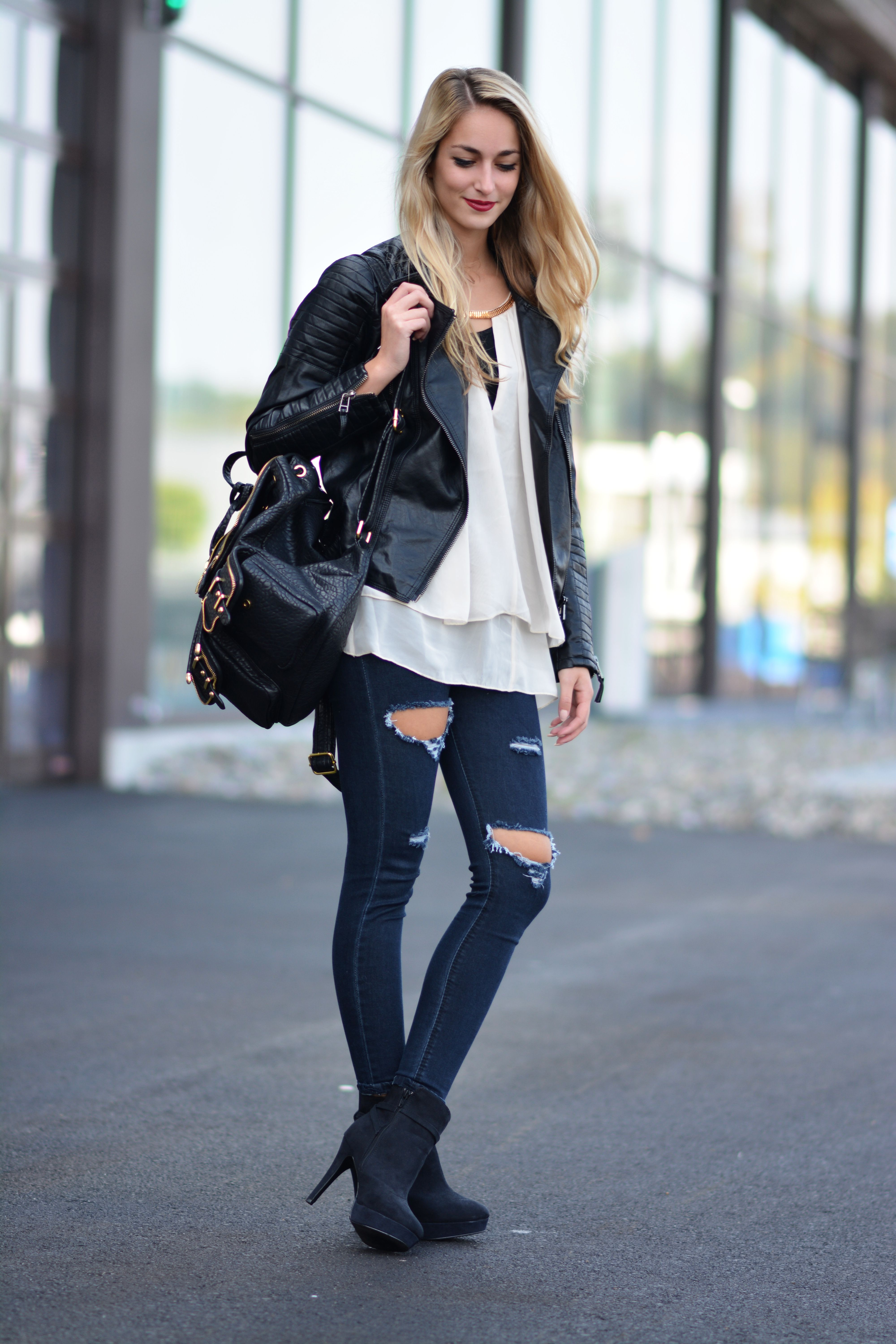 Women S Black Leather Biker Jacket White Silk Sleeveless Top Navy Ripped Skinny Jeans Black Suede Ankle Boots Skirt And Sneakers Fashion Black Leather Jacket [ 6000 x 4000 Pixel ]