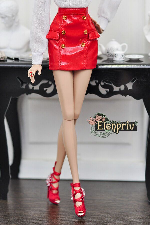 c3c5909120 ELENPRIV red pleather mini skirt for Fashion Royalty FR2 and similar size  dolls #Elenpriv