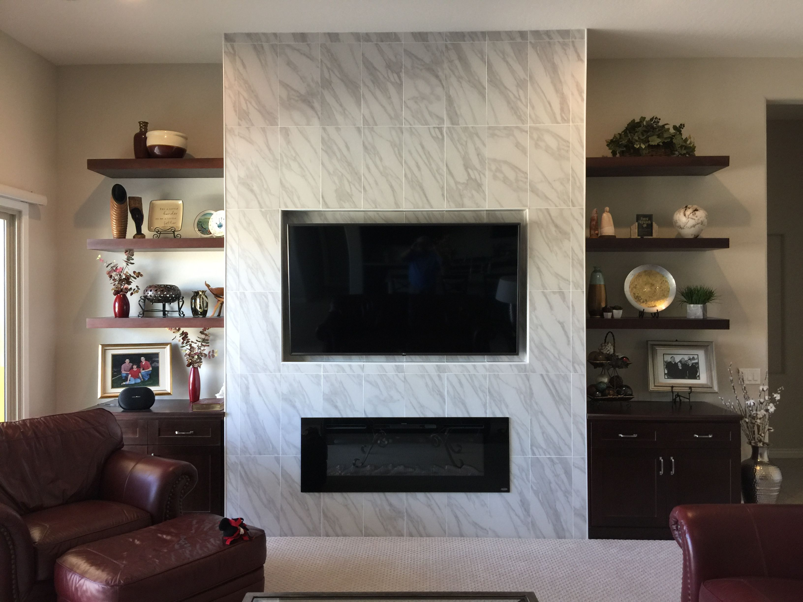 """Wall Unit with 75"""" TV and 60"""" Electric Fireplace, 3 ..."""