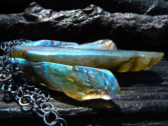 raw labradorite necklace rough gemstone necklace by BeijoFlor, $92.00