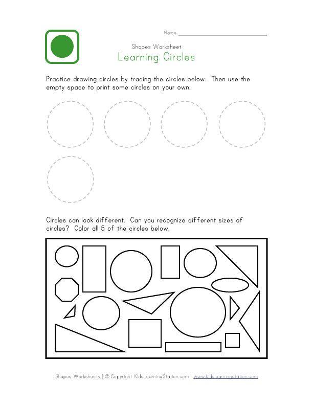 Circle Worksheet Shapes Worksheets, Shapes Preschool, Shapes Kindergarten