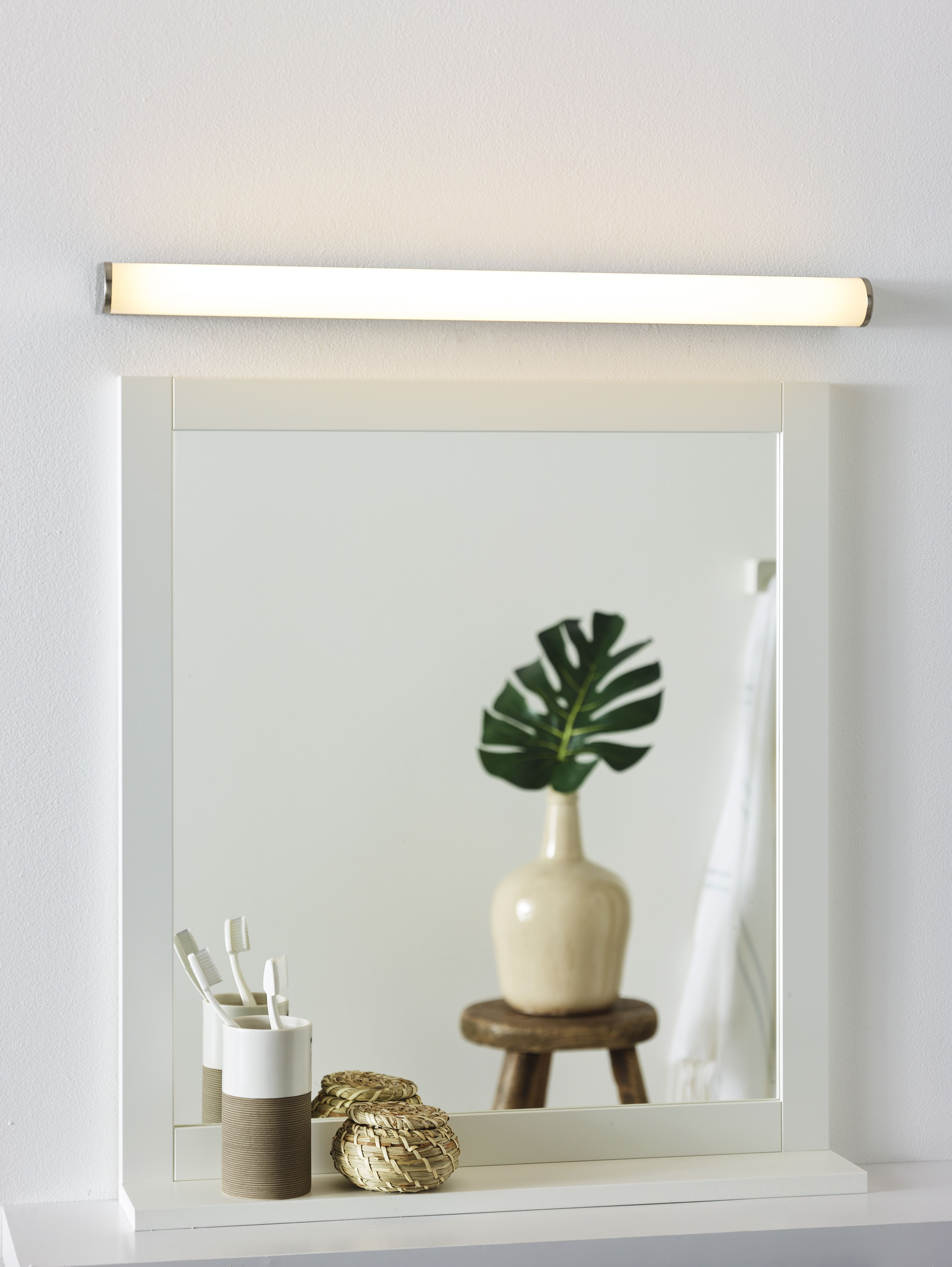 Lucide Jasper Mirror Light Bathroom Led 1x12w 3000k Ip44 Satin Chrome Spiegel Badkamer Badkamer Verlichting Lampen