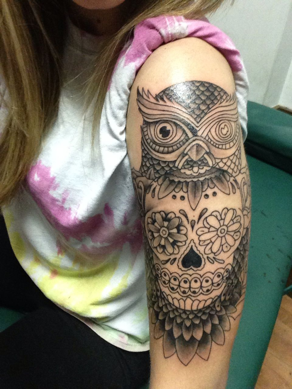 Almost finished owl and sugar skull half sleeve! Tattoos
