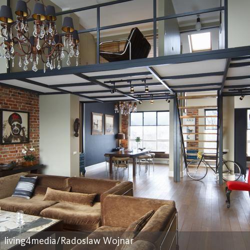 Galerie Im Wohnzimmer | Small Loft And Lofts Industrial Look Wohnzimmer