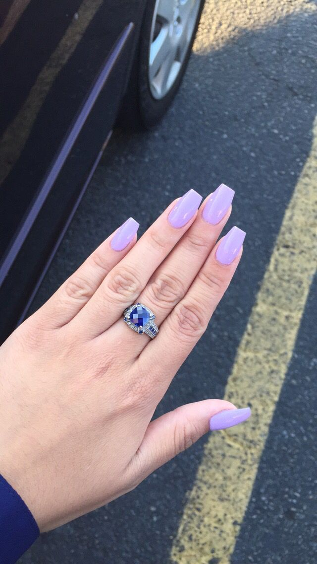 So Obsessed With My Nails This Week Purple Coffin Acrylic Short Acrylic Nails Lavender Nails Purple Nails