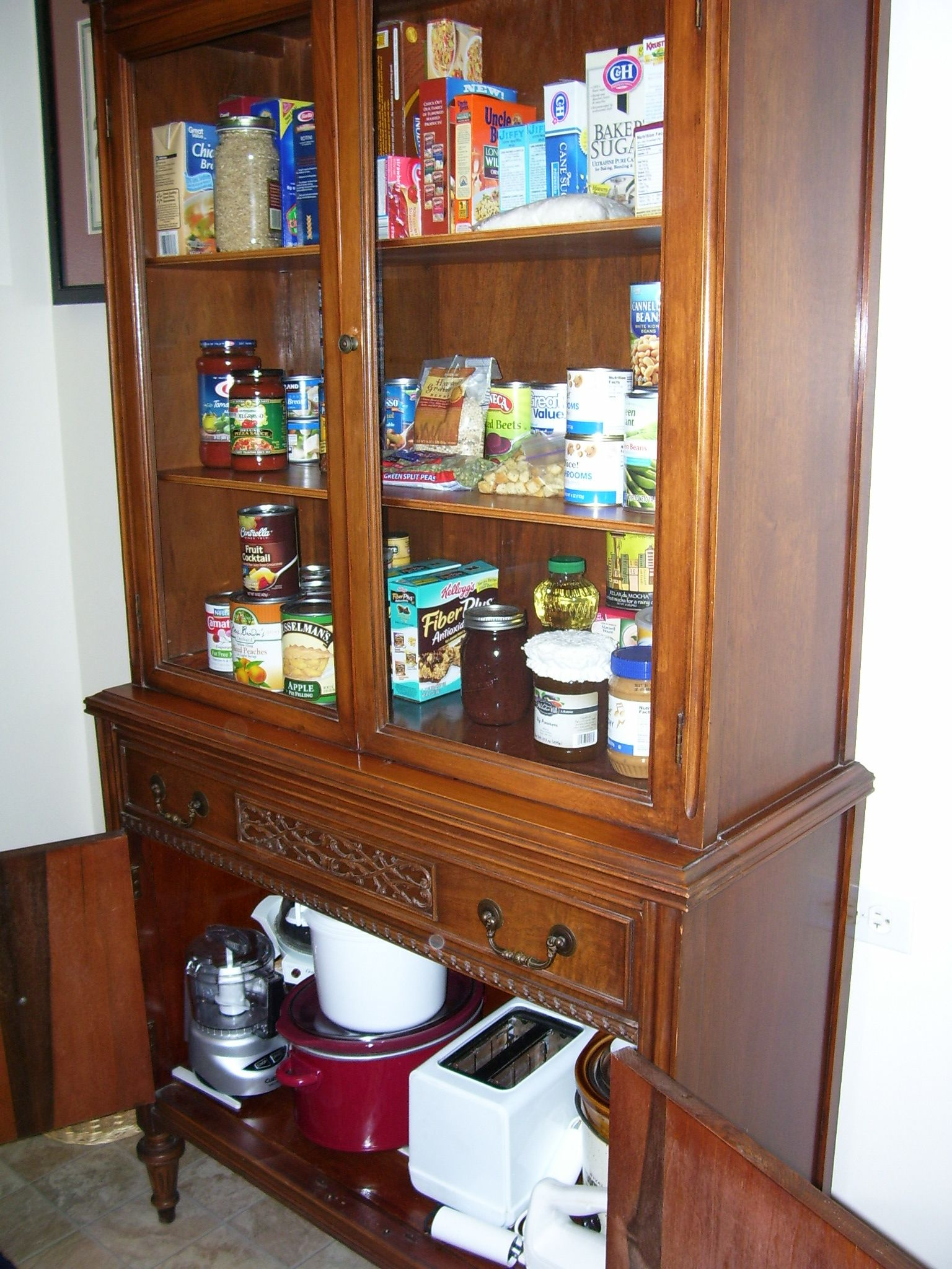 Small Kitchen W O A Pantry So I Used Vintage China Cabinet