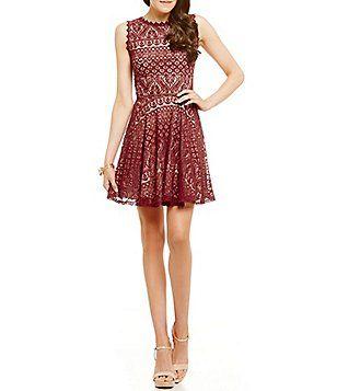 33a4cae06 Jodi Kristopher Sleeveless Two-Tone Lace Skater Dress. Vestidos Junior Vestidos De PatinadoraDos TonosVestidos InformalesDillard sVestidos De  Fiesta