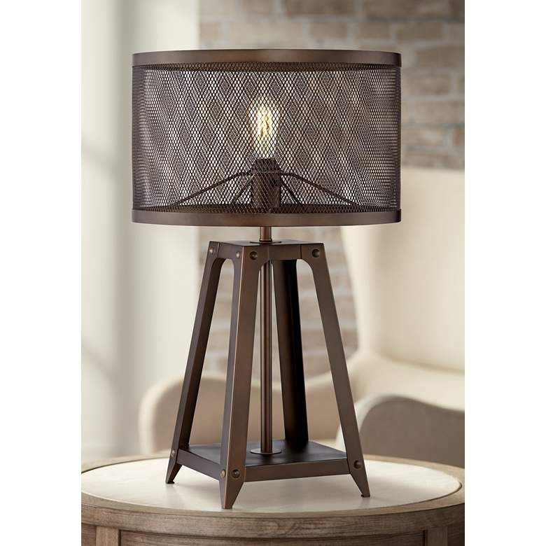 Gabe Metal Mesh Shade Farmhouse Table Lamp 46e43 Lamps Plus Farmhouse Table Lamps Metal Table Lamps Mercury Glass Table Lamp
