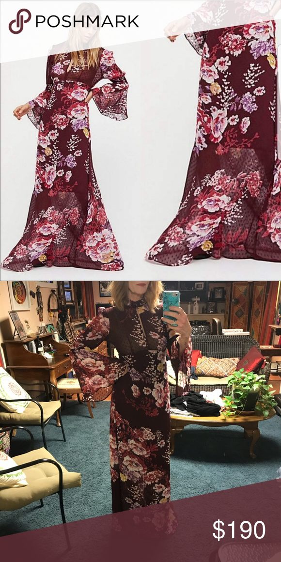 1ab56cad Semi-couture Maxi dress by TiMo of Free People Sheer dotted maxi dress in a  bold floral print with a plunging neckline with high neck with button  closures.