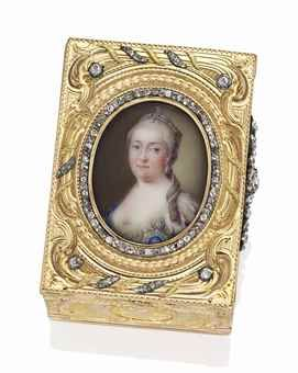 A RUSSIAN JEWELED VARI-COLOUR GOLD SNUFF-BOX SET WITH AN ENAMEL PORTRAIT MINIATURE, BY JEAN-PIERRE ADOR, ST PETERSBURG, CIRCA 1760. Rectangular, boldly chased with vari-colour scrolls, foliage, musical trophies and a courting couple on a sablé ground, the cover set at intervals with diamonds and centred by an enamel portrait miniature of Empress Elizabeth Petrovna of Russia.
