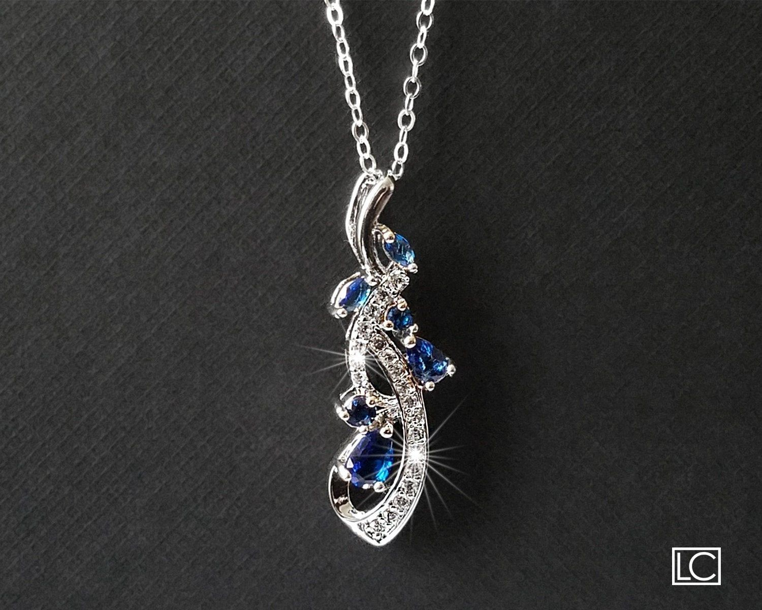 Blue Crystal Necklace, Navy Blue Silver Pendant, S