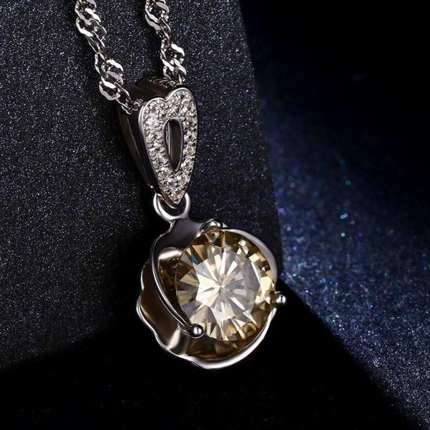 Photo of Champagne / Golden Colored Moissanite Necklace Platinum Plated Silver 1.5 Carat