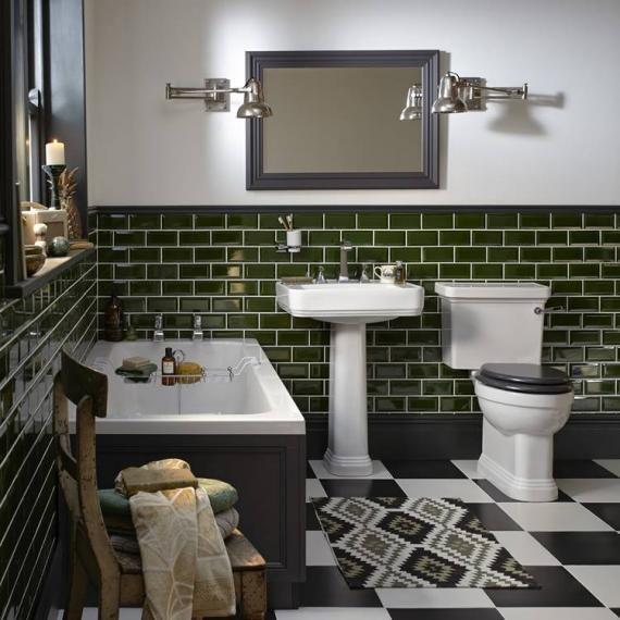 Heritage Wynwood Bathroom Suite White Bathroom Tiles Green Tile Bathroom Bathroom Tile Designs