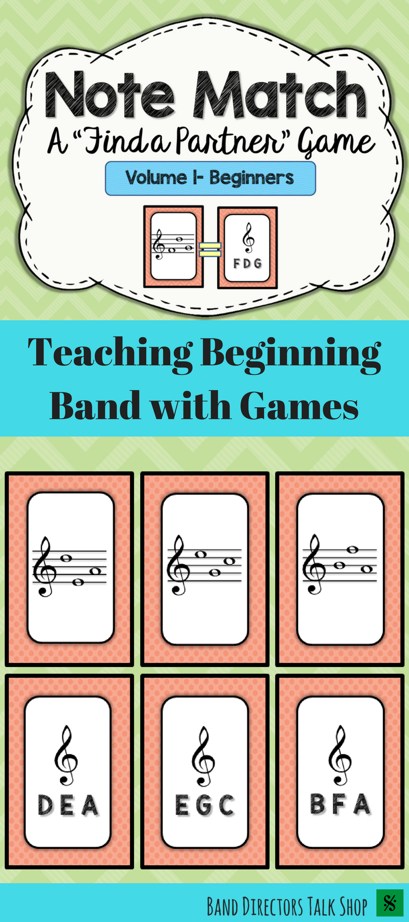 Note Match Game Vol 1 A Find a Partner Game 2 Sets – Theory Worksheets for Beginning Bands