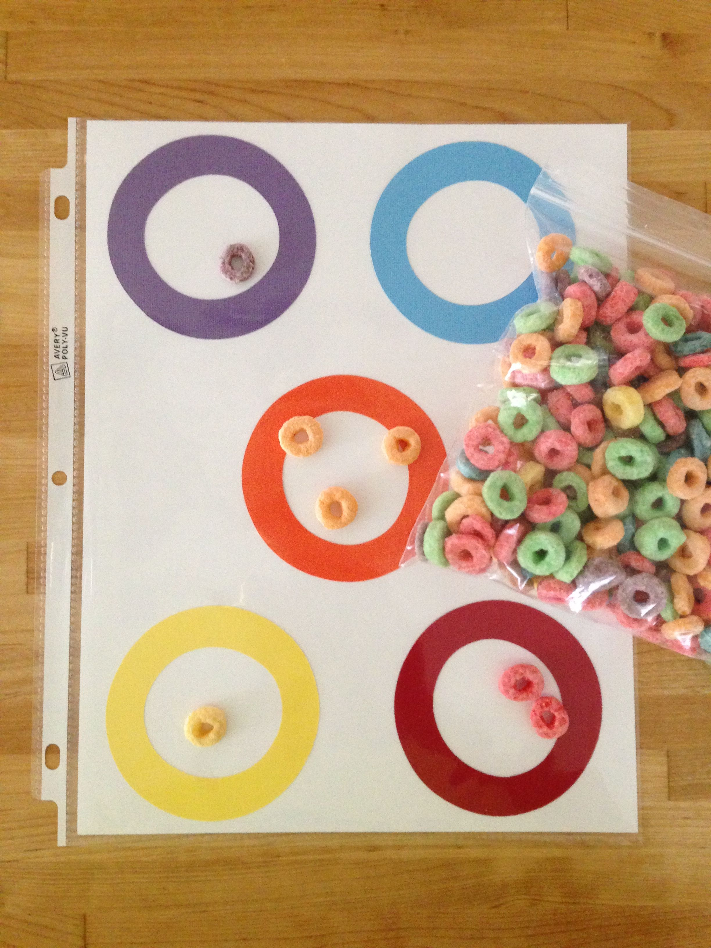 Fruit Loops Cereal And A Few Matching Colored Paper