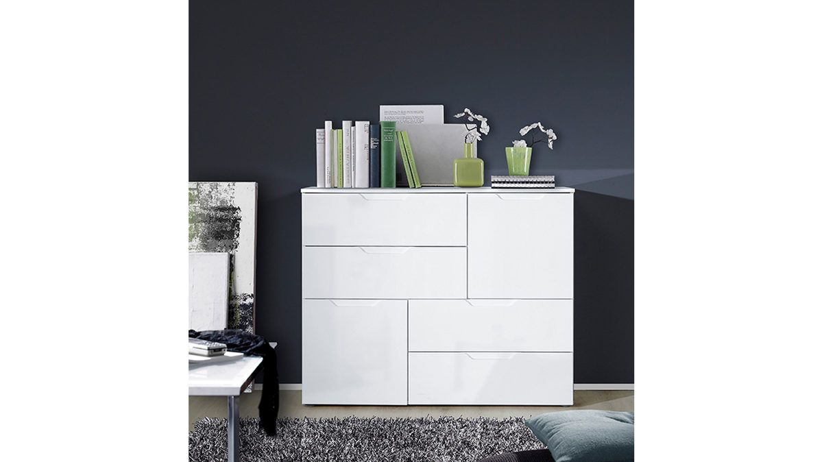 kombikommode wei e hochglanzfronten korpus mit wei en kunststoffoberfl chen zwei t ren. Black Bedroom Furniture Sets. Home Design Ideas