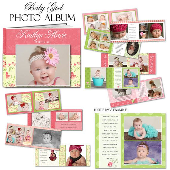 PHOTOBOOK - Baby Girl - Photoshop Templates for Photographers. 8.5 ...