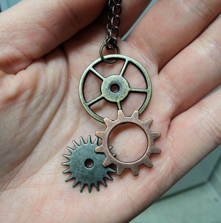 steampunk Harry Potter brooch badge silver coloured owl cog gear wheel eyes #rn5