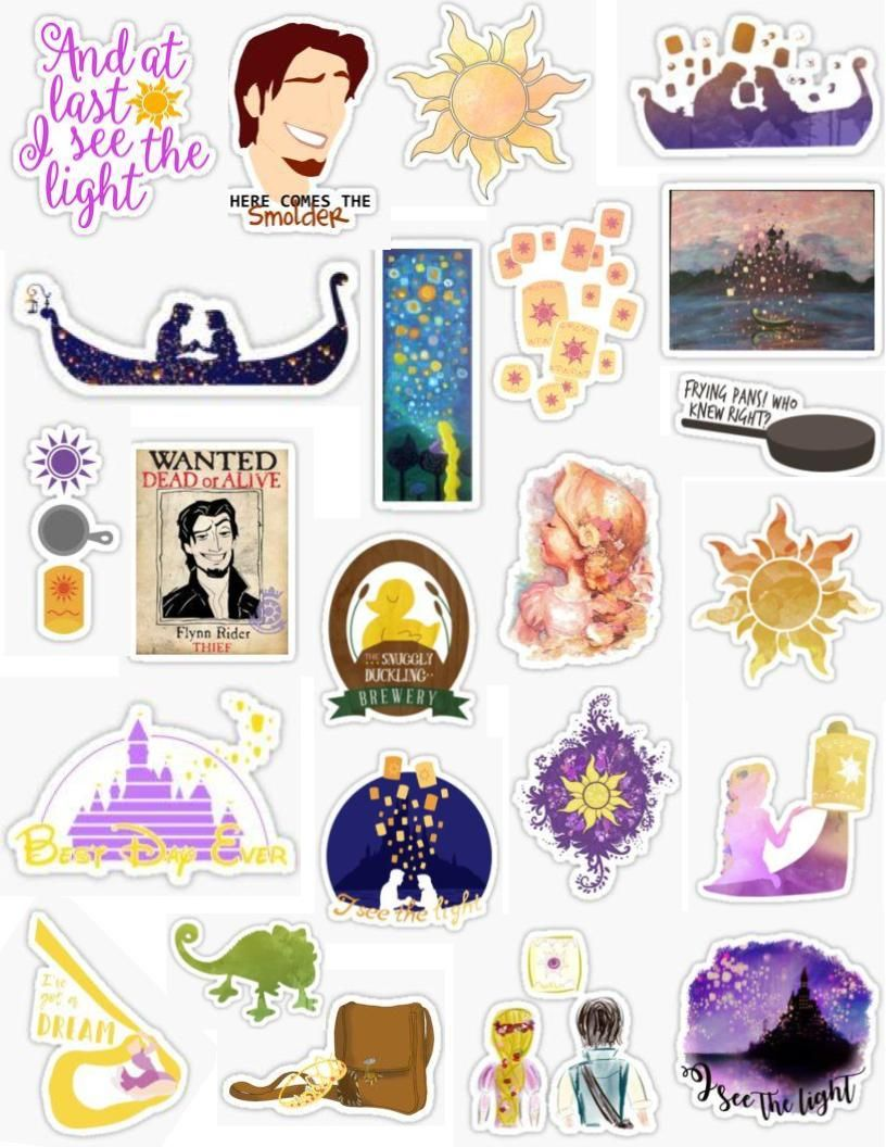 Tangled Stickers Rapunzel Long Hair Flynn Rider Smolder Flyn
