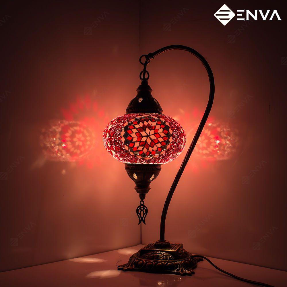 Turkish Moroccan Style Mosaic Multicolour Desk Table Lamp Light Medium Globe