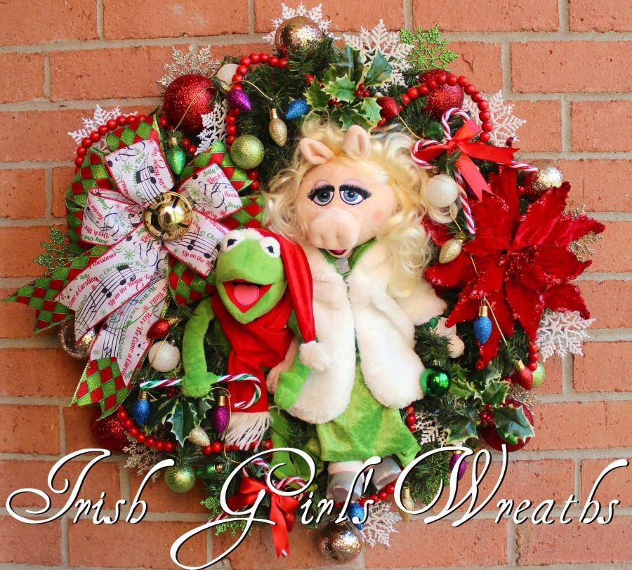 Kermit and Miss Piggy Christmas Wreath, Muppet Christmas Wreath ...