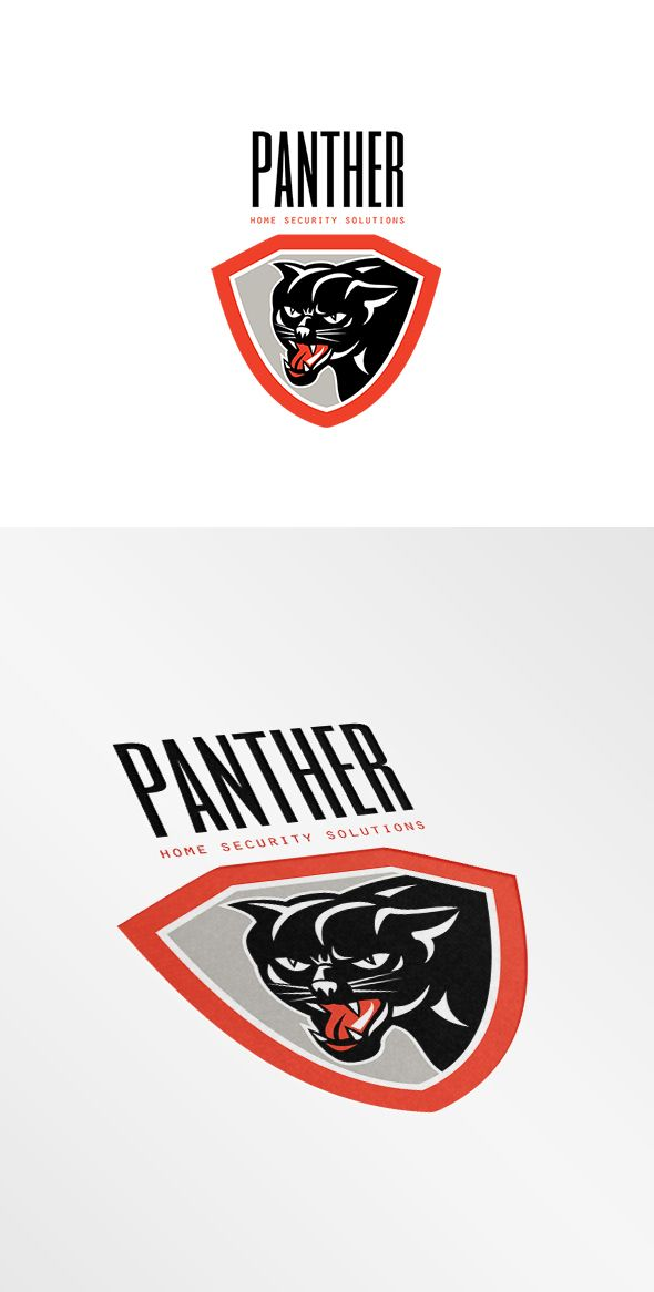 Panther Home Security Solutions Logo. Logo showing illustration of panther black cat head facing front growling set inside shield crest on isolated white background done in retro style. 100%