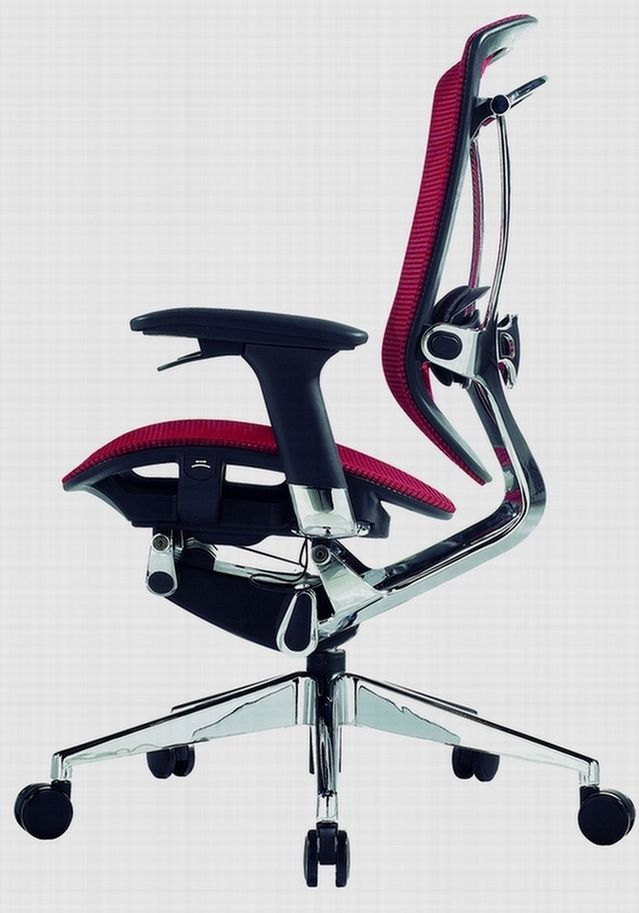 ergonomic modern office chair design with red back rest