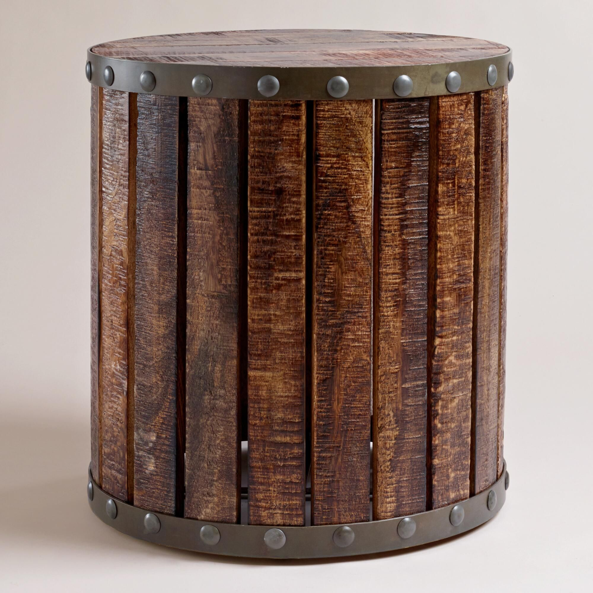 our wood plank drum table is a unique accent table with an industrial stylethat suits. our wood plank drum table is a unique accent table with an