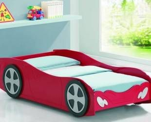 Red Car Shaped Beds For Toddlers With White Mattress Under Folding