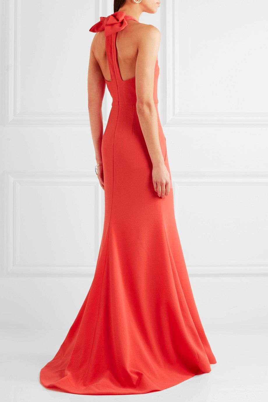 Bow Breakers Open-back Crepe Gown - Red Rebecca Vallance gAYkamt