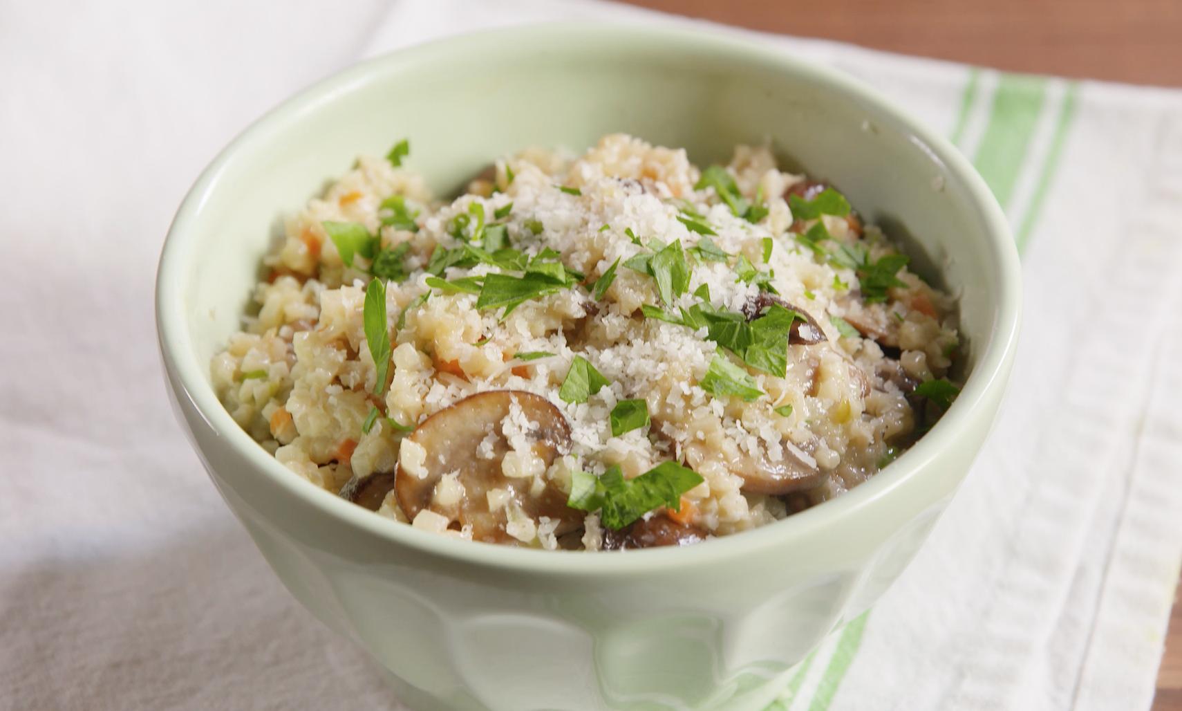 Mushroom Risotto with Riced Cauliflower Medley