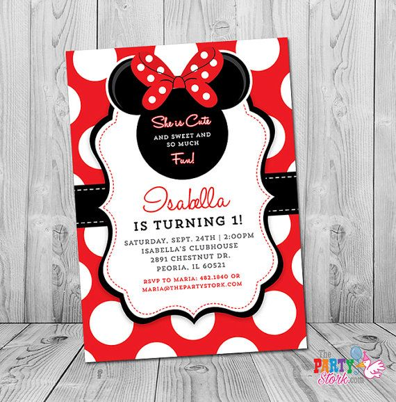 Minnie Mouse First Birthday Invitation 1st