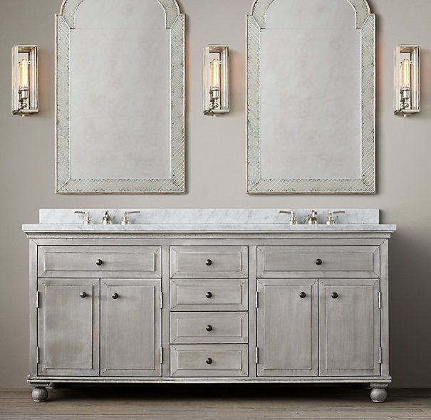 Light zinc double vanity for Restoration hardware bathroom cabinets